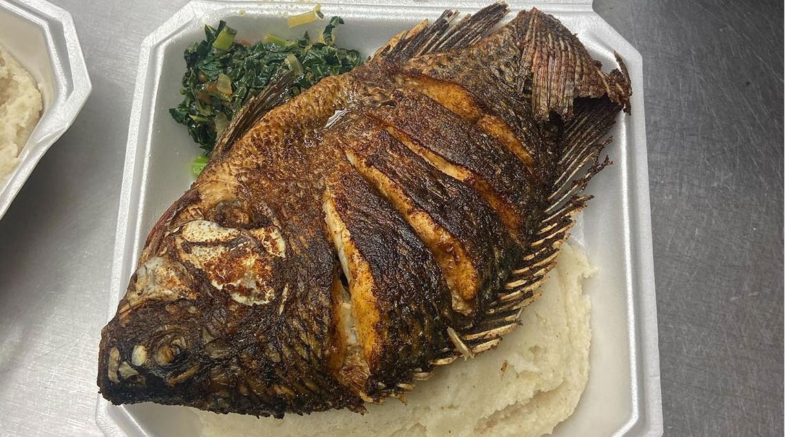 Nsima, Tilapia and Collard Greens